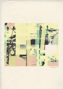 """Kauai, Subtle and Select"", print, abstract, flora, pale, aqua, pink, yellow"