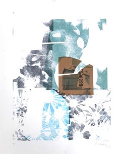 """""""Leave the Flowers at the Back Door"""", abstract, landscape, blue, green, grey"""