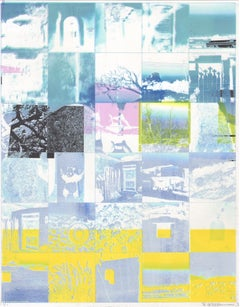 """""""Life is Full"""", mixed media, abstract, landscape, blue, white, yellow, pink"""