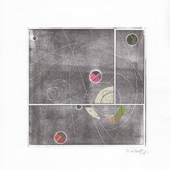 """""""Satellite"""", contemporary, abstract, mono print, black, white"""