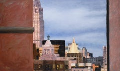 View from the Train: Cityscape Oil Painting, View of Brooklyn