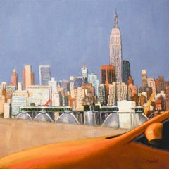 Yellow Taxi: Iconic Painting of New York City Skyline and Empire State Building