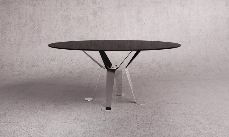 Mexican Patuda Glass and Polished Steel Table by ATRA For Sale