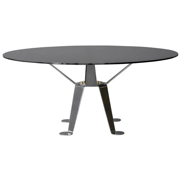 Patuda Glass and Polished Steel Table by ATRA For Sale
