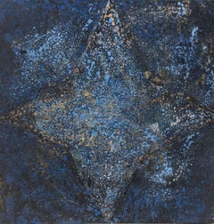 """ STAR BLUE"" original abstract mixed media canvas painting"