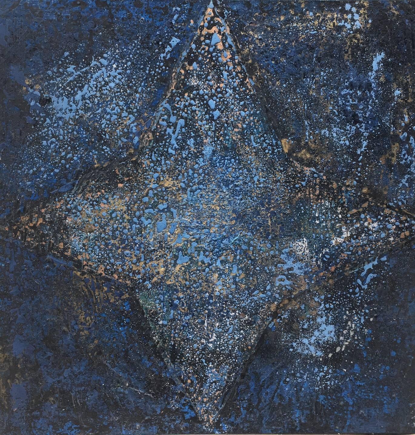 """ STAR BLUE"" original abstract mixed media canvas painting"