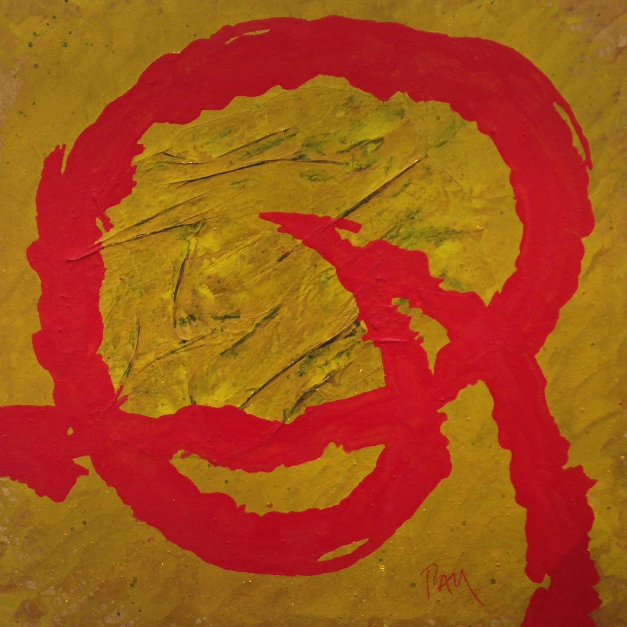 RED AND YELLOW- original abstract mixed media canvas painting
