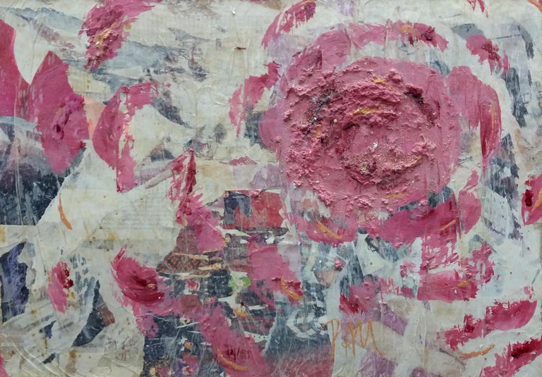 Roses original contemporary mixed media painting - Painting by Pau Alemany
