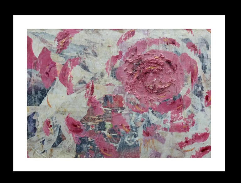 Pau Alemany Abstract Painting - Roses original contemporary mixed media painting