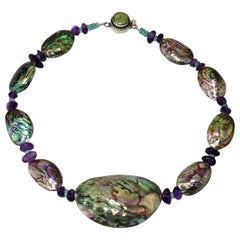Paua Shell Short Necklace Accented with Amethyst and Apatite