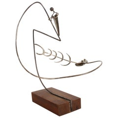 Paul A. Lobel Sterling Fisherman Kinetic Sculpture