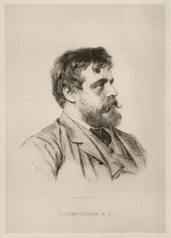Sir Lawrence Alma-Tadema, portrait etching by Paul Adolphe Rajon, 1883