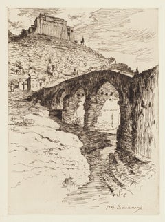 The Bridge - Original Etching by Paul Adrien Bouroux - First Half of XX Century