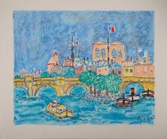 Paris : Notre Dame and Boats on the Seine River - Original lithograph