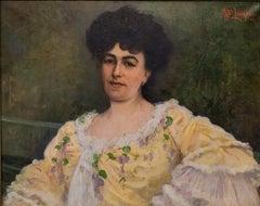 20th Century Impressionism Albert Laurens Female Portrait Oil on Canvas Yellow