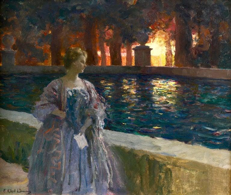 Pres du basin - a nuit - Impressionist Oil, Figure in Landscape by P A Laurens - Painting by Paul Albert Laurens