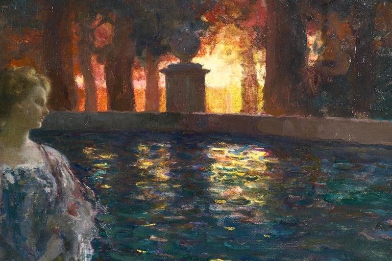 Pres du basin - a nuit - Impressionist Oil, Figure in Landscape by P A Laurens - Black Landscape Painting by Paul Albert Laurens