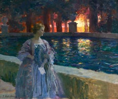 Pres du basin - a nuit - Impressionist Oil, Figure in Landscape by P A Laurens
