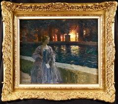 Pres du basin - a nuit - Impressionist Oil, Figure in Landscape by P A Laurens