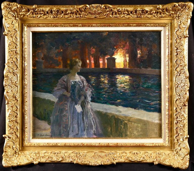 Paul Albert Laurens Landscape Painting - Pres du basin - a nuit - Impressionist Oil, Figure in Landscape by P A Laurens