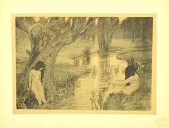 Le Bain des Nymphes - Original Lithograph by A. Laurens - 1898