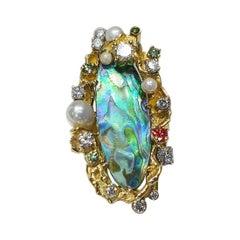 Paul Amey 18k Gold, Diamond and Paua Shell Ring