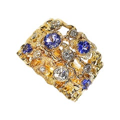Paul Amey 18k Gold, Diamond and Tanzanite Dress Ring
