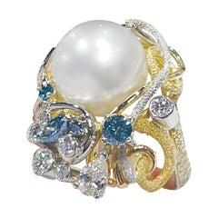 Paul Amey 18k Gold, Pearl and Diamond Cocktail Ring