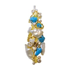Paul Amey 18k Gold, Pearl, Turquoise and Diamond Pendant