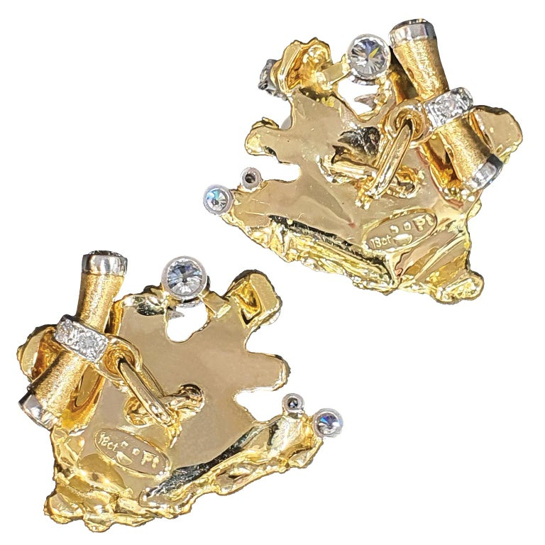 """The """"Blayzing"""" cufflinks were designed and hand crafted by multi award-winning jeweller Paul Amey in Australia. Stamped with his registered makers mark and precious metal marks. """"Blayzing"""" were designed and completed with over 60 hours of labour and"""