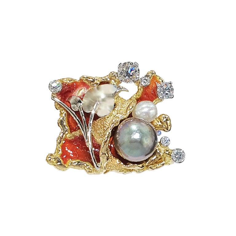 Artisan Paul Amey 18k Gold, Platinum, Diamond, Pearl and Enamel Cufflinks For Sale