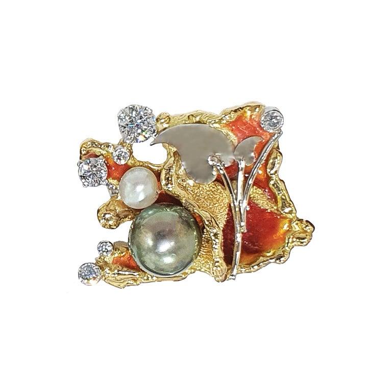 Mixed Cut Paul Amey 18k Gold, Platinum, Diamond, Pearl and Enamel Cufflinks For Sale