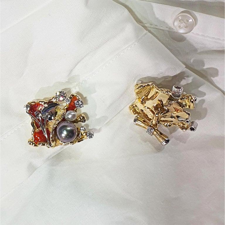 Women's or Men's Paul Amey 18k Gold, Platinum, Diamond, Pearl and Enamel Cufflinks For Sale