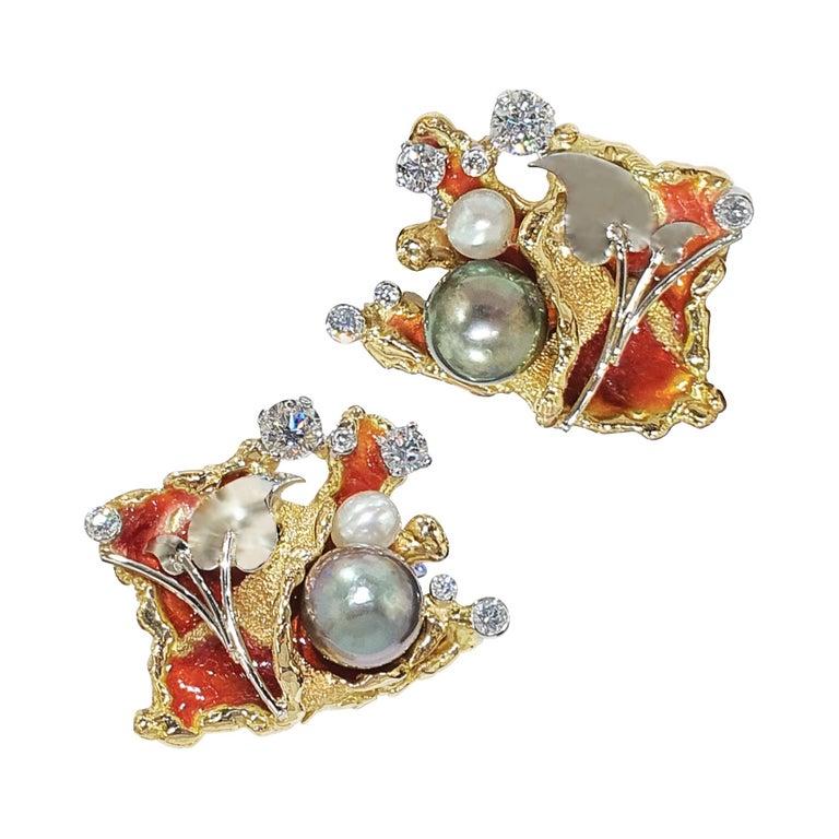 Paul Amey 18k Gold, Platinum, Diamond, Pearl and Enamel Cufflinks For Sale
