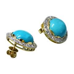 "Paul Amey 18k Gold, ""Sleeping Beauty"" Turquoise and Diamond Earrings"
