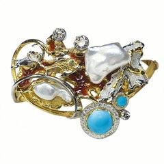 "Paul Amey 18K Gold, ""Sleeping Beauty"" Turquoise, Diamond and Pearl Bangle"