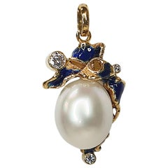 Paul Amey 18k Yellow Gold, South Sea Pearl and Blue Enamel Pendant