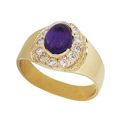 Paul Amey 9k Gold, Diamond and Amethyst Ring