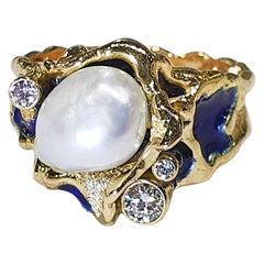 Paul Amey Signature Molten Edge, 18k Gold, Blue Enamel, Pearl and Diamond Ring