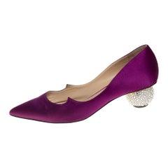 Paul Andrew Purple Satin Ankara Crystal Embellished Block Heel Pumps Size 37