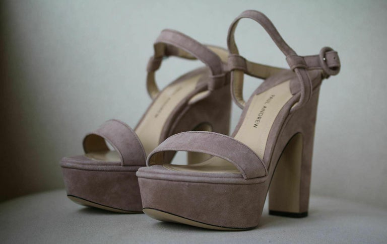 Brown Paul Andrew Stanton Suede Platform Sandals  For Sale