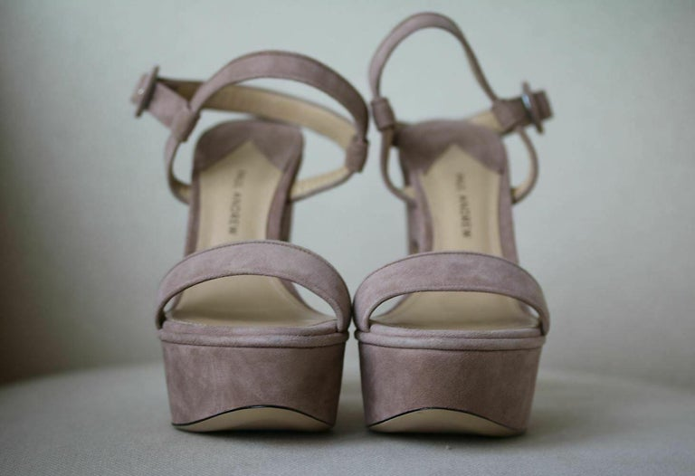 Paul Andrew Stanton Suede Platform Sandals  In New Condition For Sale In London, GB