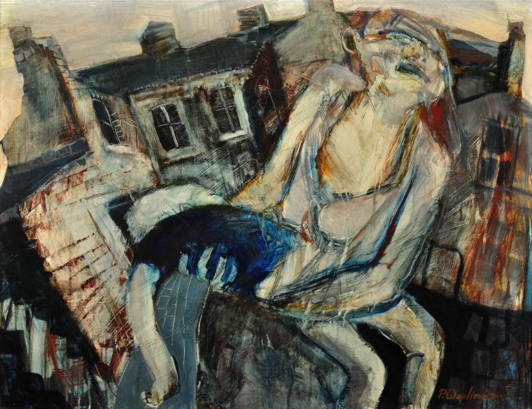Mother with Injured Child, Forest Fields,Nottingham.Real Life.Original Painting. - Mixed Media Art by Paul Anthony Waplington