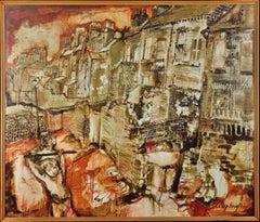 Lads Playing St Ann's,Nottingham.Original Painting.Mod British.Mid-20th Century.