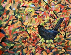 Autumn Blackbird BY PAUL BARTLETT, Limited Edition Print,Contemporary Animal Art