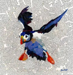 Puffin Landing (Large) , Paul Barlett, Puffin Print