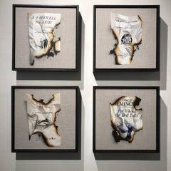 """Set of four square """"In Memoriam: Hemingway"""" framed paintings on linen"""