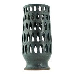 Paul Bellardo Teardrop Perforated Studio Pottery Sculptural Vase