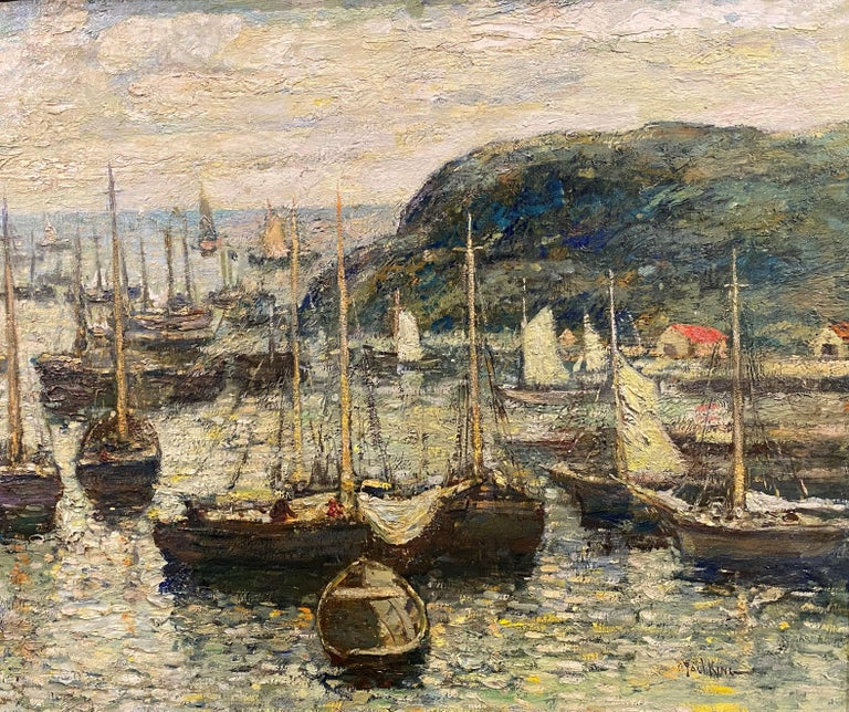Coastal Harbor Scene With Boats - American Impressionist Art by Paul Bernard King