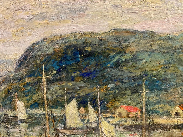 A fine impressionist coastal harbor scene with boats by American artist Paul Bernard King (1867-1947). King was born in Buffalo, New York, and after becoming an established printer, went on to study at the NY Art Students League with Henry S.